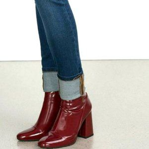 Zara Burgundy Red Faux Patent Leather Ankle Bootie